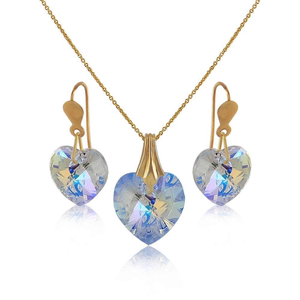 9ct gold crystal heart pendant and earrings sets from jarvis 9ct gold crystal heart pendant and earrings aloadofball Images