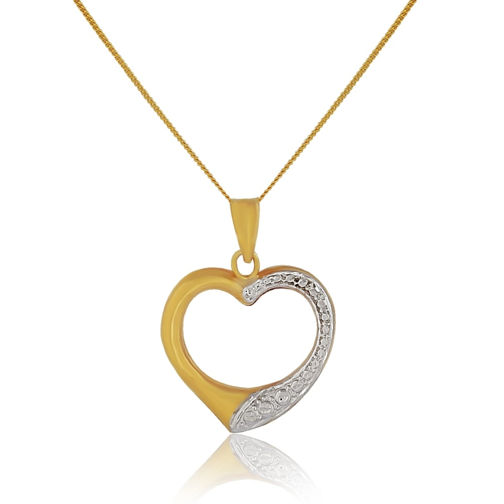 9ct gold two tone open heart pendant and chain 9ct yellow white 9ct gold two tone open heart pendant and chain aloadofball Choice Image