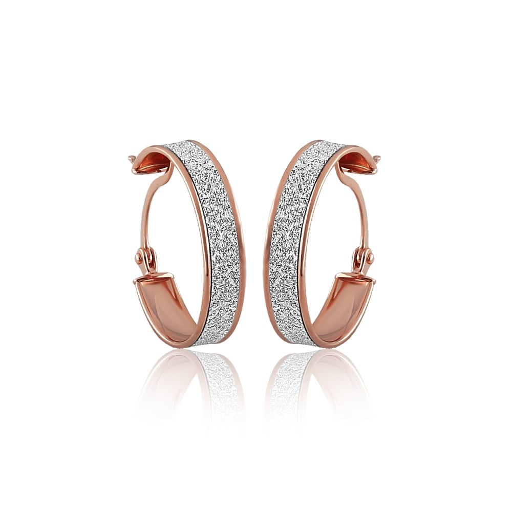 9ct Rose Gold Stardust Creole Earrings