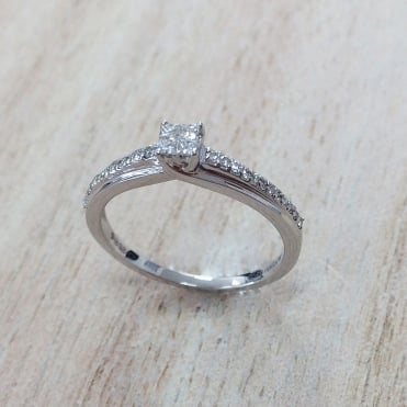 9ct White Gold Diamond Ring 0.18cts