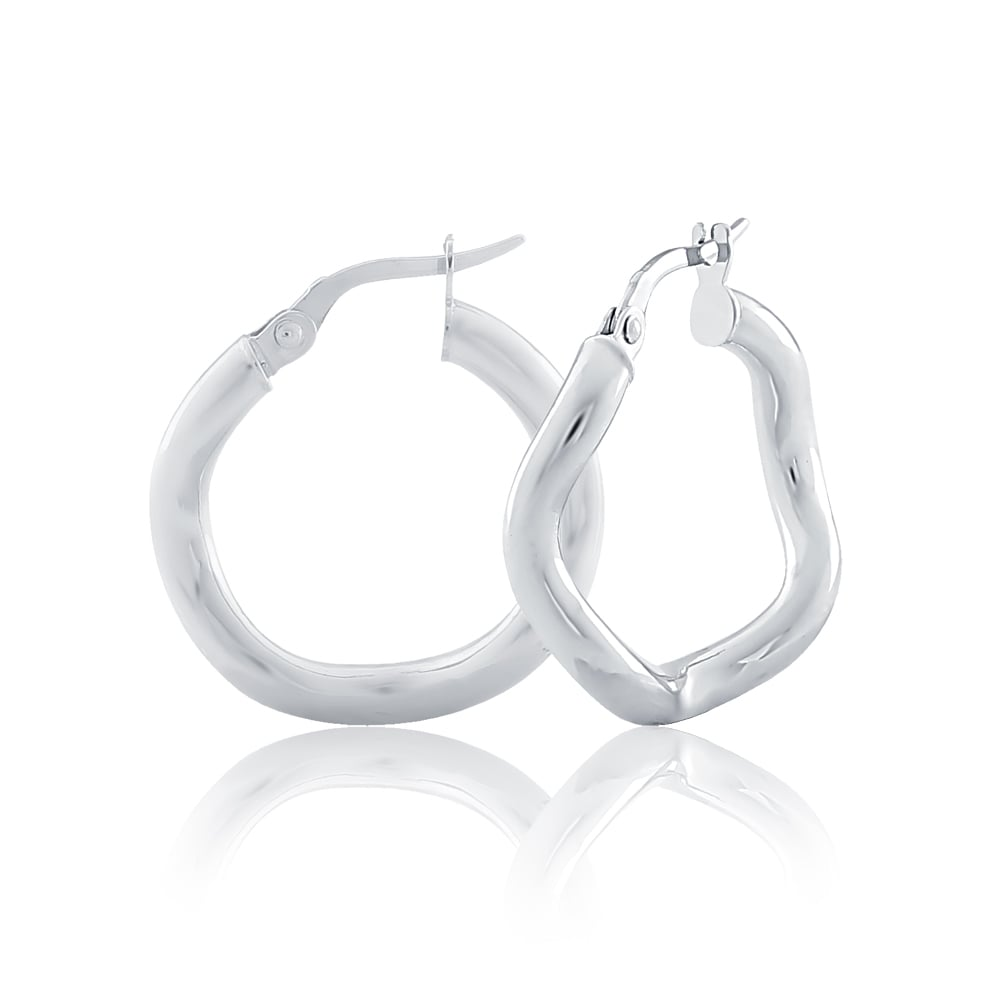 9ct White Gold Wavey 15mm Hoop Earrings