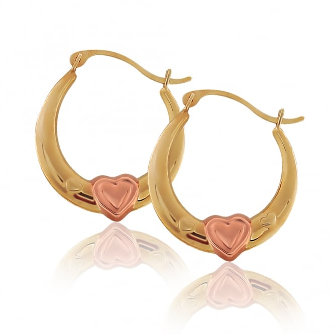 9ct Yellow And Rose Gold Heart Creole Hoops