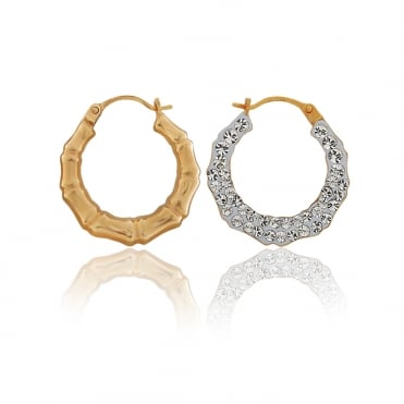 9ct Yellow Gold Crystalique Bamboo Creole Earrings