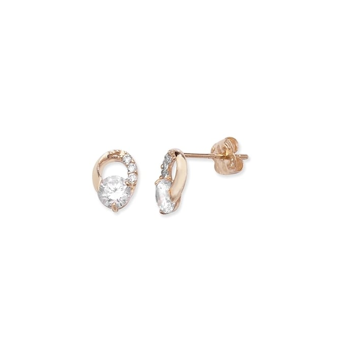 9ct Yellow Gold Cubic Zirconia Oval Stud Earrings