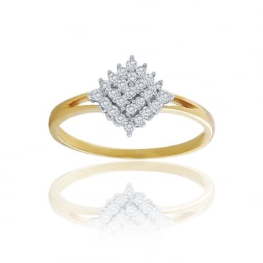 9ct Yellow Gold Diamond Cluster Ring 0.25cts