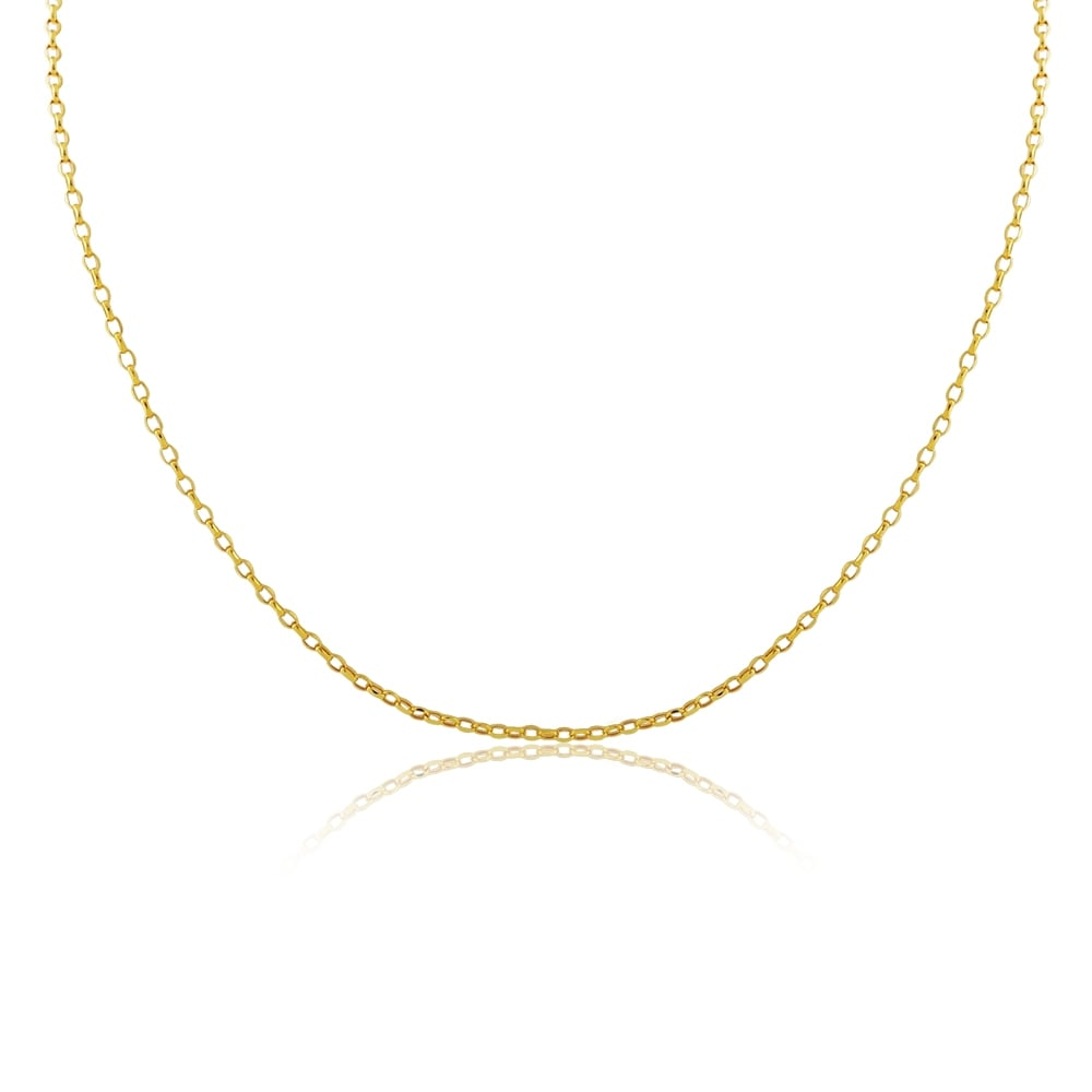eade957888c8a 9ct Yellow Gold Hollow Oval Belcher Chain 18 Inch