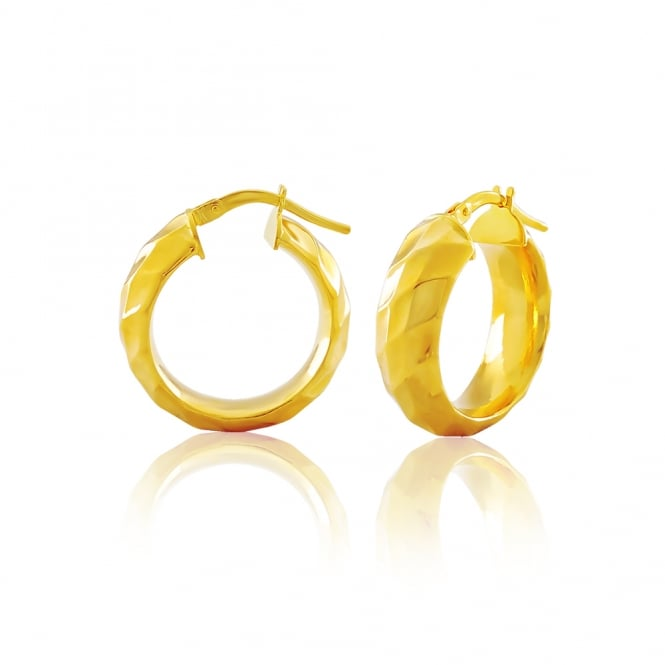 9ct Yellow Gold Triple Faceted Concave Hoop Earrings