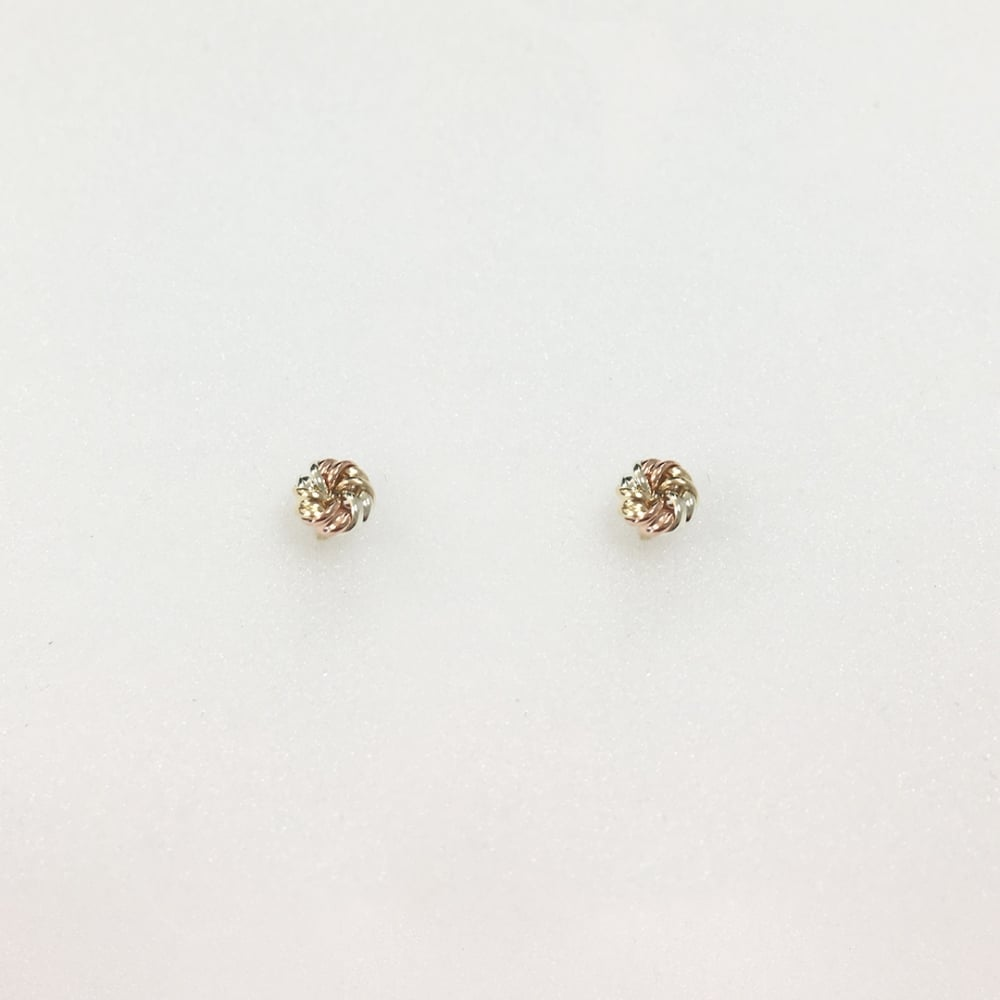236220760 9ct Yellow, Rose And White Gold Knot Stud Earrings - Earrings from ...