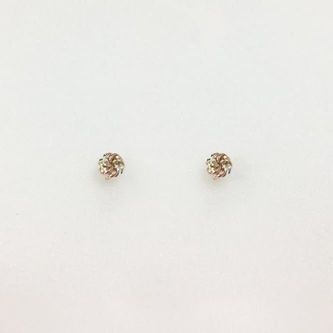 9ct Yellow, Rose And White Gold Knot Stud Earrings