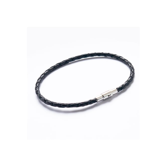 Leather and Steel 3mm Plaited Black Bracelet 21cm