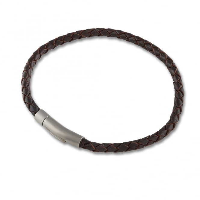 Leather and Steel 4mm Brown Bracelet 23cm