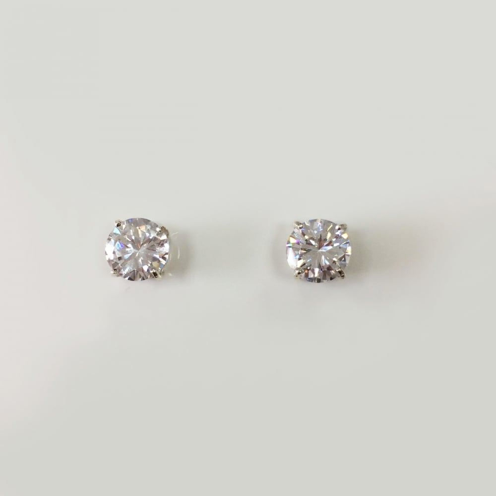 85ae7cc95 Sterling Silver 8mm Cubic Zirconia Stud Earrings - Silver Cubic ...