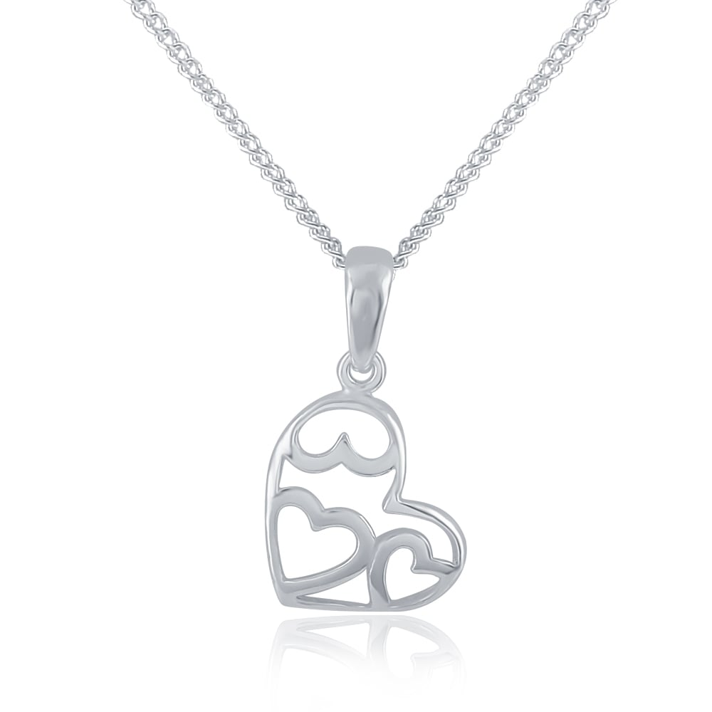Sterling silver asymetric hearts pendant and chain mozeypictures Images