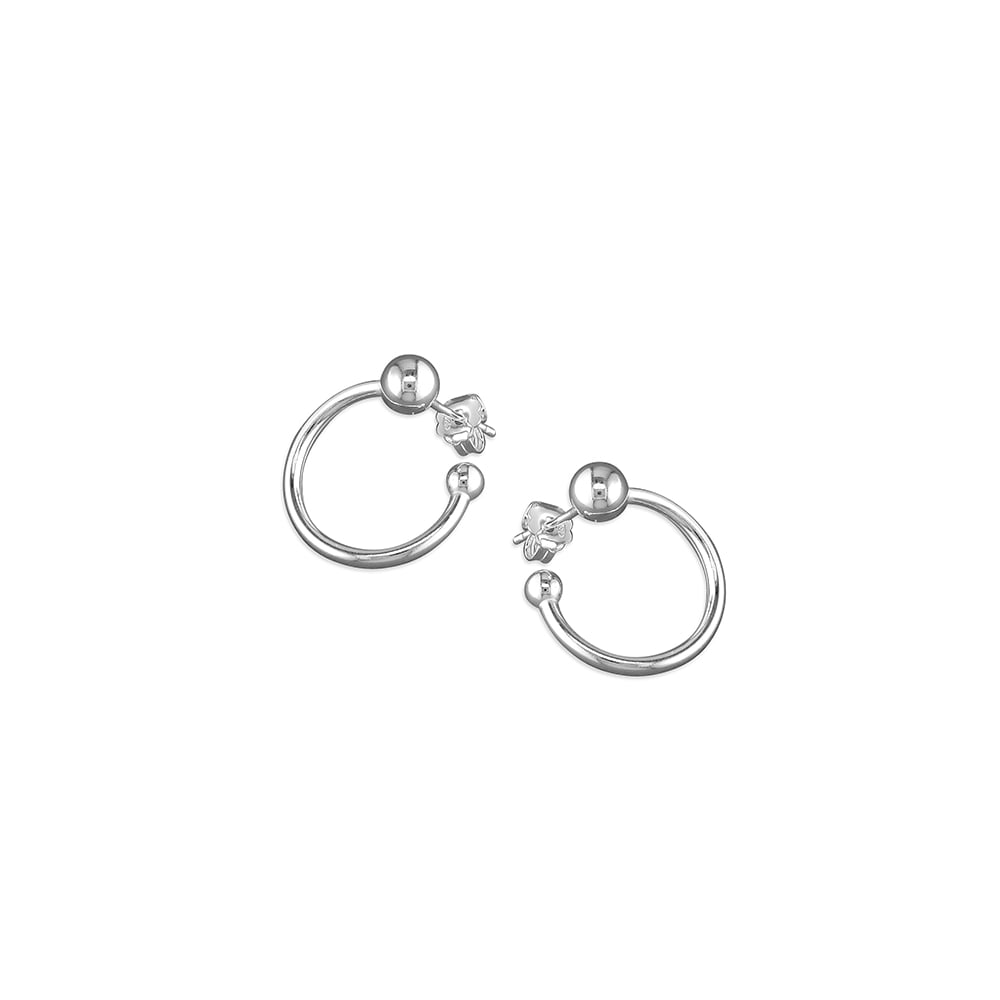 52800591a0a0b Sterling Silver Ball Curled Hoop Earrings