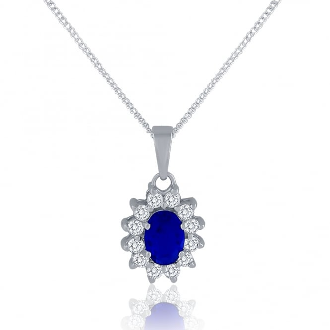 Sterling Silver Blue Cubic Zirconia Oval Cluster Pendant And Chain