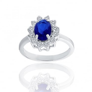 Sterling Silver Blue Cubic Zirconia Oval Cluster Ring