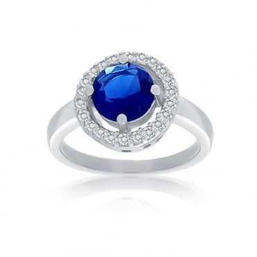Sterling Silver Blue Cubic Zirconia Round Halo Ring