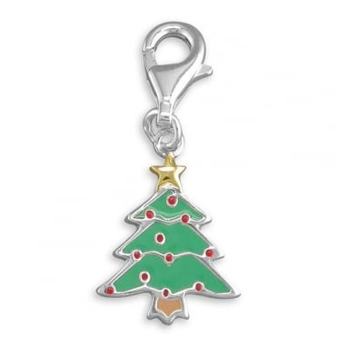 Sterling Silver Clip On Christmas Tree Charm