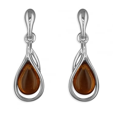 Sterling Silver Cognac Amber Swoop Drop Earrings