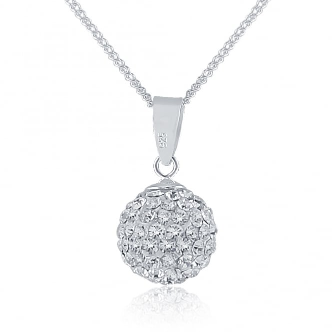 Sterling Silver Crystal Glitterball Pendant And Chain