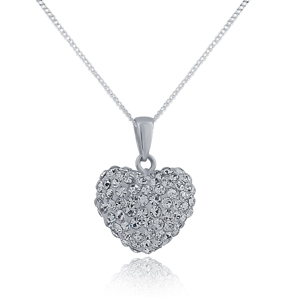 Sterling silver crystal puffed heart pendant all jewellery from sterling silver crystal puffed heart pendant mozeypictures Choice Image