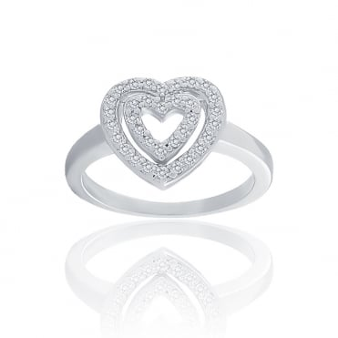 Sterling Silver Cubic Zirconia 2 Row Open Heart Ring