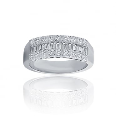 Sterling Silver Cubic Zirconia 3 Row Band Ring