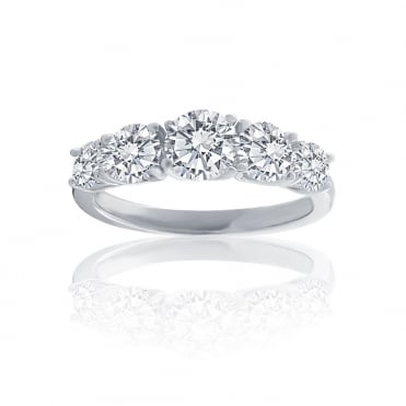 Sterling Silver Cubic Zirconia 5stone Eternity Ring