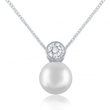 Sterling Silver Cubic Zirconia And Pearl Drop Pendant And Chain