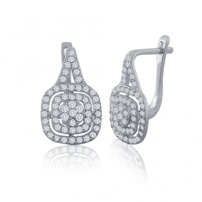Sterling Silver Cubic Zirconia Cushion Drop With Lever Back Earrings