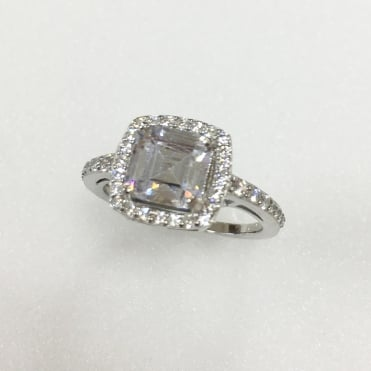 Sterling Silver Cubic Zirconia Cushion Halo Ring