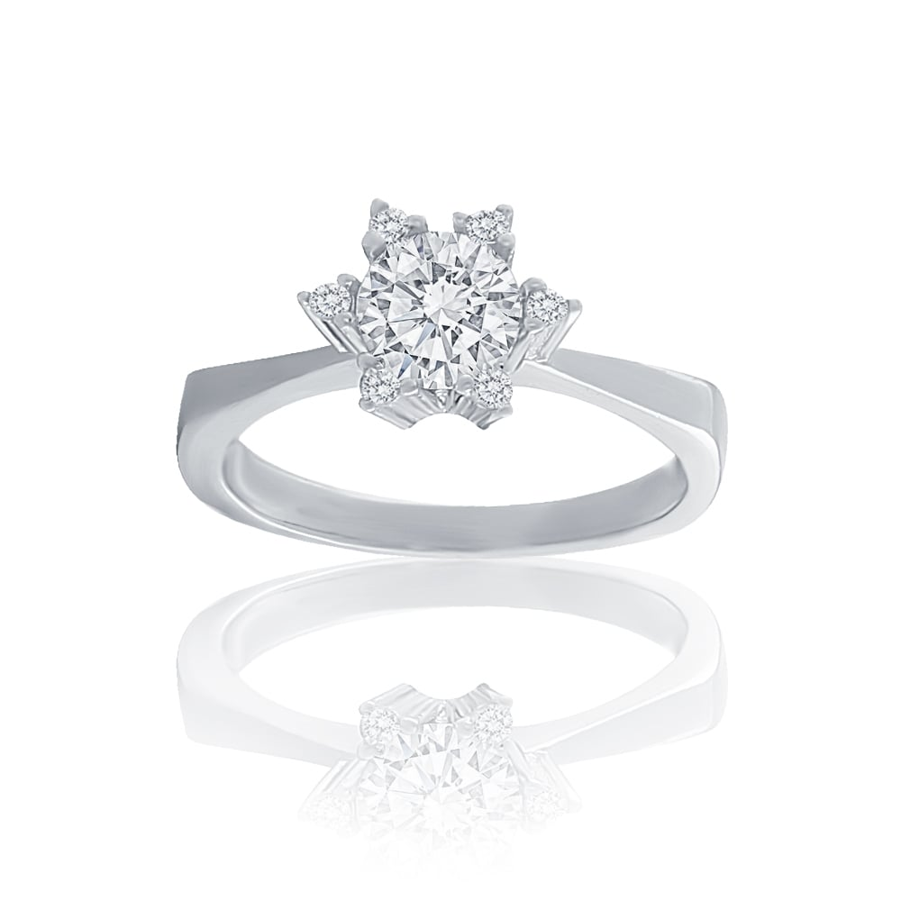 Silver cubic zirconia daisy flower cluster ring sterling silver cubic zirconia daisy flower cluster ring izmirmasajfo Image collections