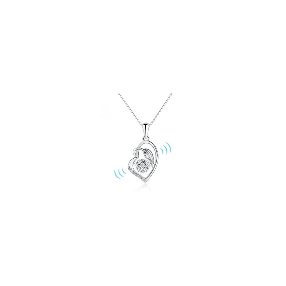 c596a84ea309d Sterling Silver Cubic Zirconia Dancing Stone Heart Pendant and Chain ...