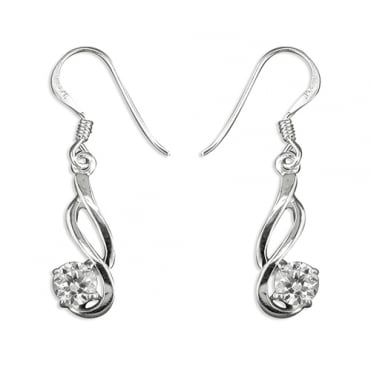 Sterling Silver Cubic Zirconia Double Swirl Drop Earrings