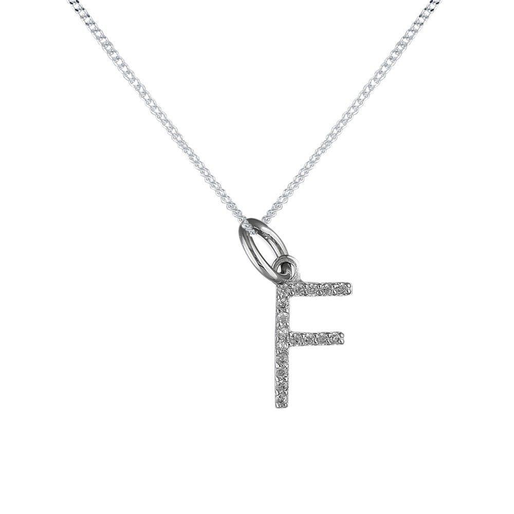 Sterling silver cubic zirconia f initial pendant and chain sterling silver cubic zirconia f initial pendant and chain mozeypictures Image collections