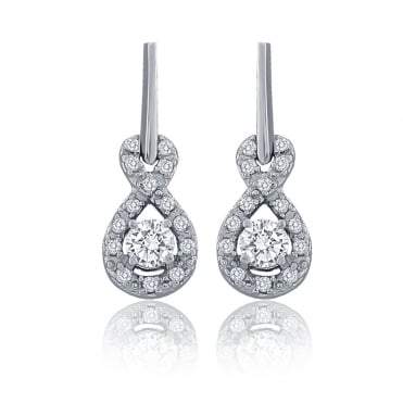 Sterling Silver Cubic Zirconia Figure Of 8 Drop Earrings