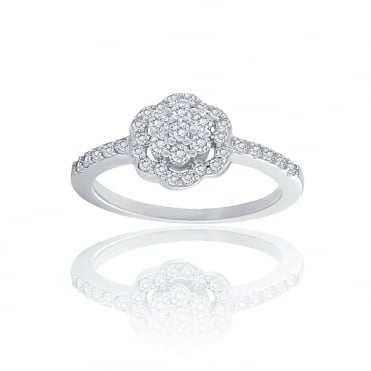Sterling Silver Cubic Zirconia Flower Cluster Ring