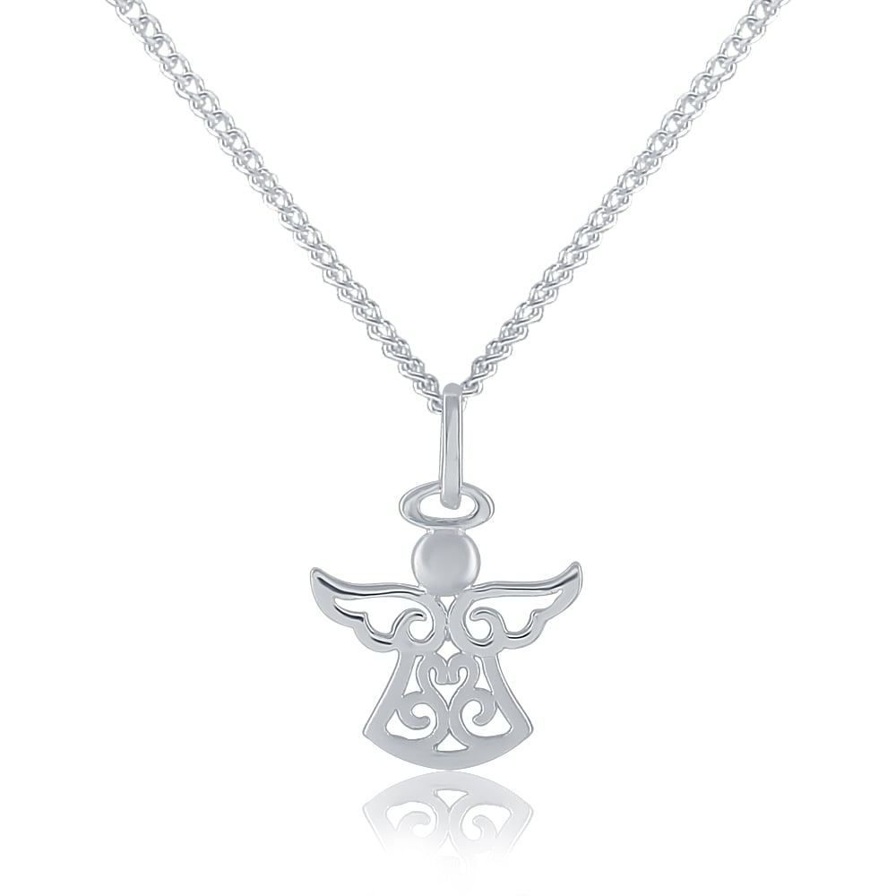 Sterling silver cubic zirconia guardian angel pendant and chain sterling silver cubic zirconia guardian angel pendant and chain aloadofball Gallery