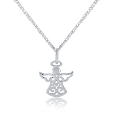 Sterling Silver Cubic Zirconia Guardian Angel Pendant And Chain