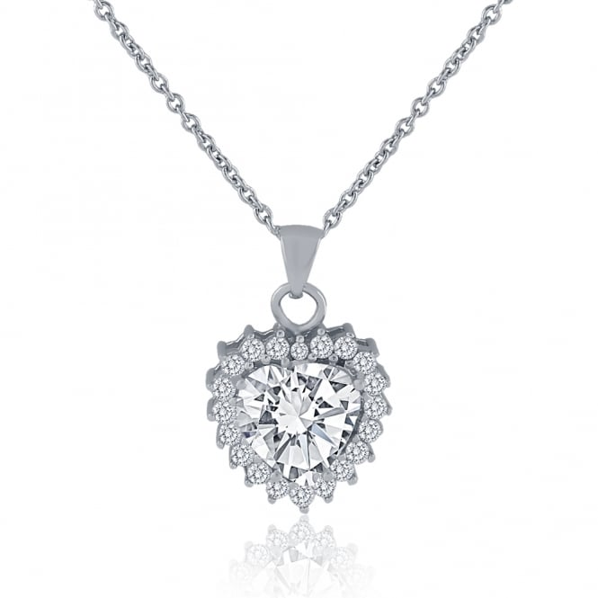 Sterling Silver Cubic Zirconia Heart Cluster Pendant And Chain