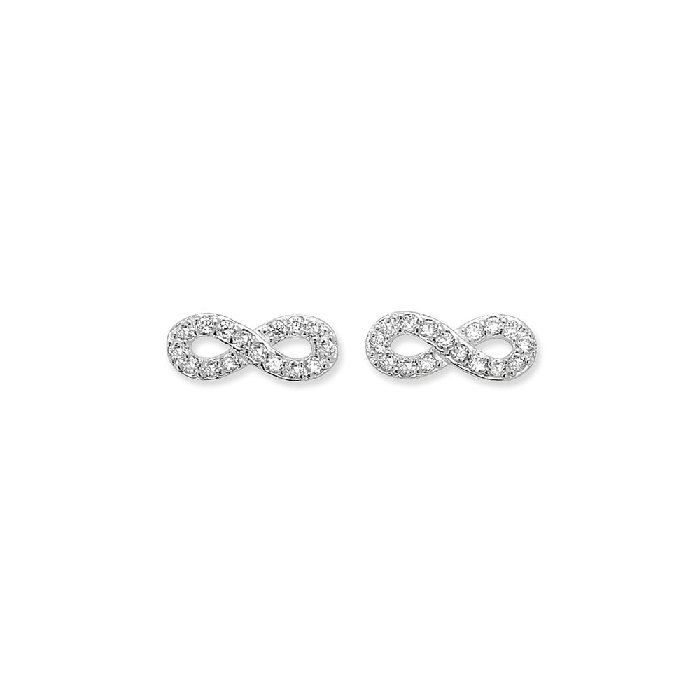 image earrings jewellery sterling infinity silver polished all stud plain