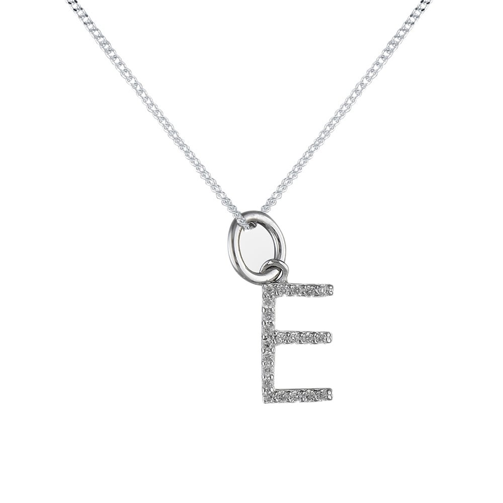 Sterling silver cubic zirconia initial e pendant and chain sterling silver cubic zirconia initial e pendant and chain aloadofball Choice Image