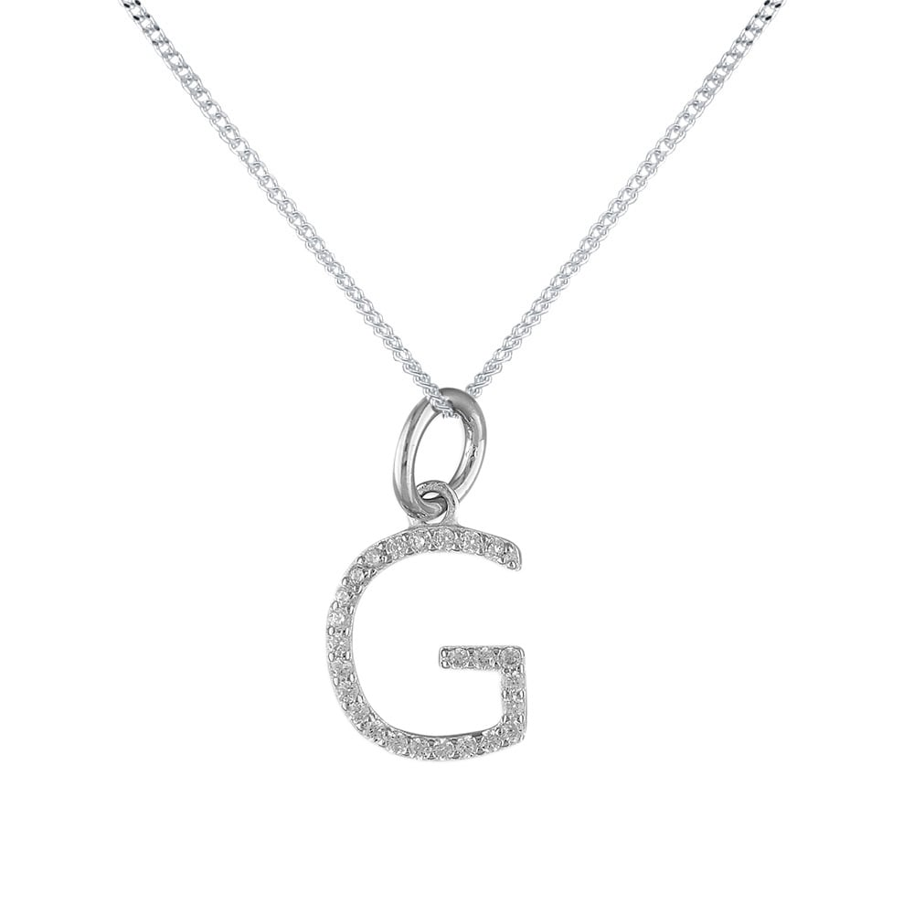 Silver cubic zirconia initial g pendant and chain sterling silver cubic zirconia initial g pendant and chain aloadofball Choice Image