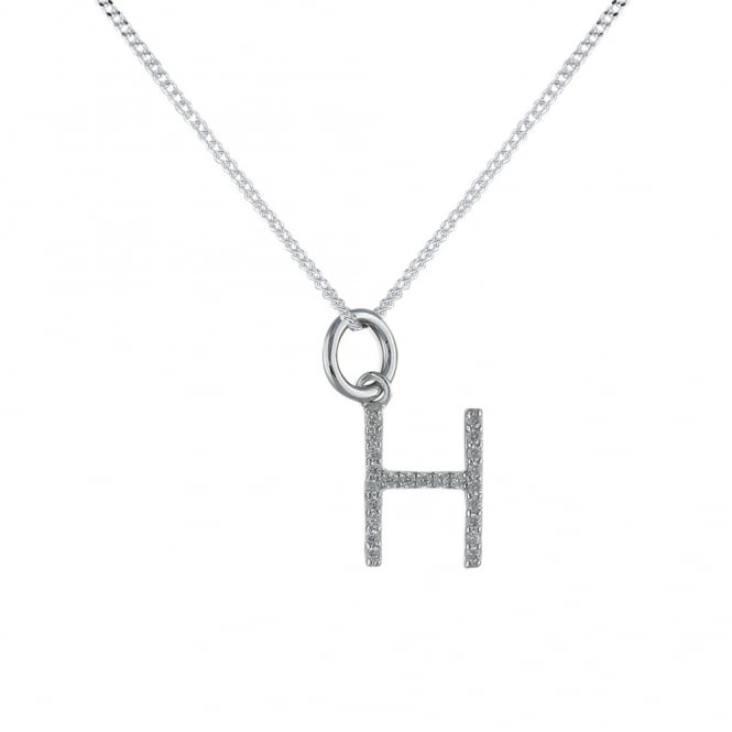 Sterling Silver Cubic Zirconia Initial H Pendant And Chain