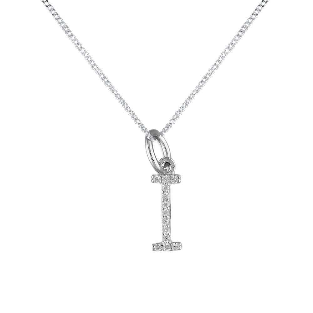 Sterling silver cubic zirconia initial i pendant and chain sterling silver cubic zirconia initial i pendant and chain aloadofball Choice Image