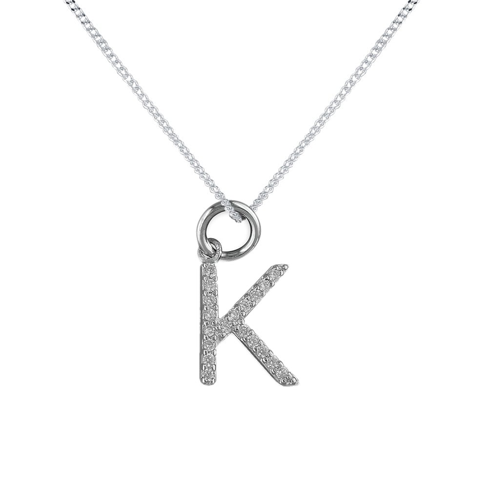 Sterling silver cubic zirconia initial k pendant and chain sterling silver cubic zirconia initial k pendant and chain mozeypictures Image collections