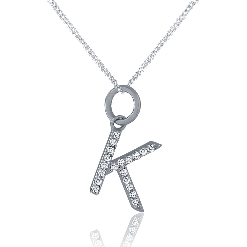 Silver cubic zirconia initial k pendant and chain sterling silver cubic zirconia initial k pendant and chain aloadofball Image collections