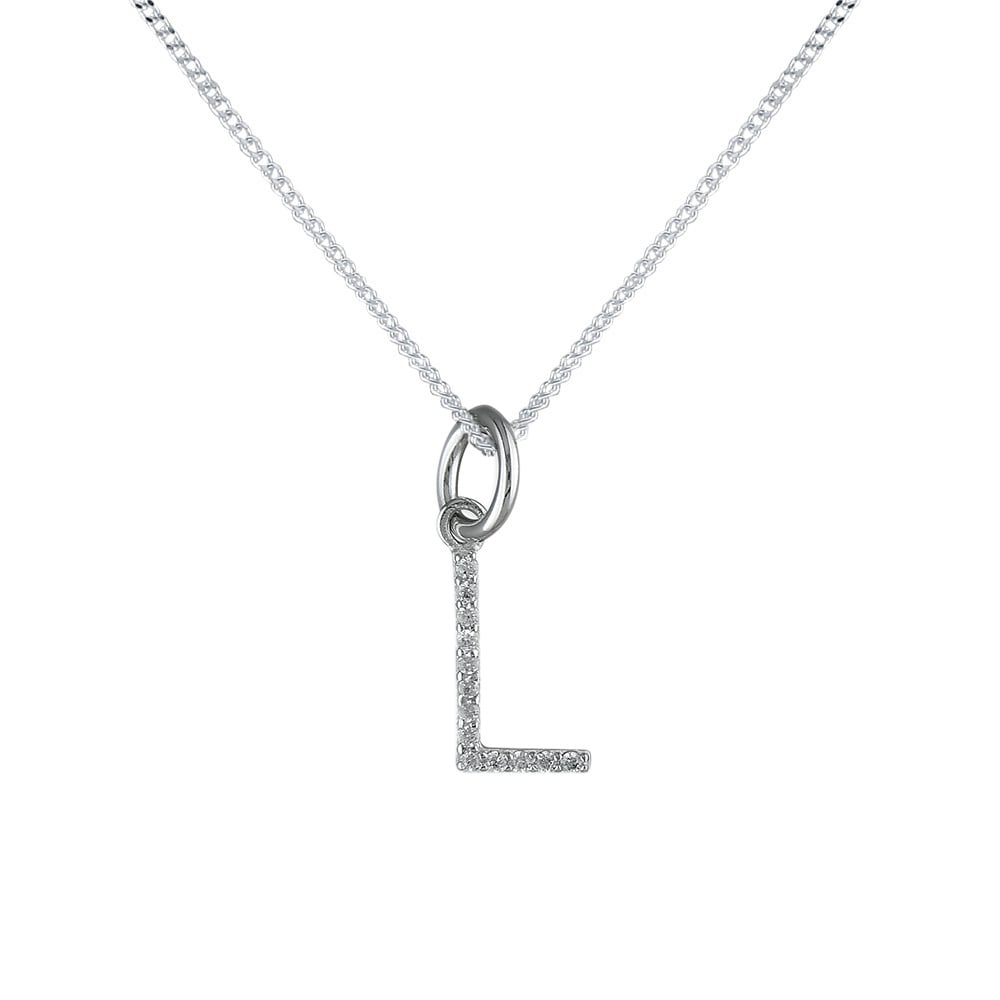 Sterling silver cubic zirconia initial l pendant and chain sterling silver cubic zirconia initial l pendant and chain aloadofball Choice Image