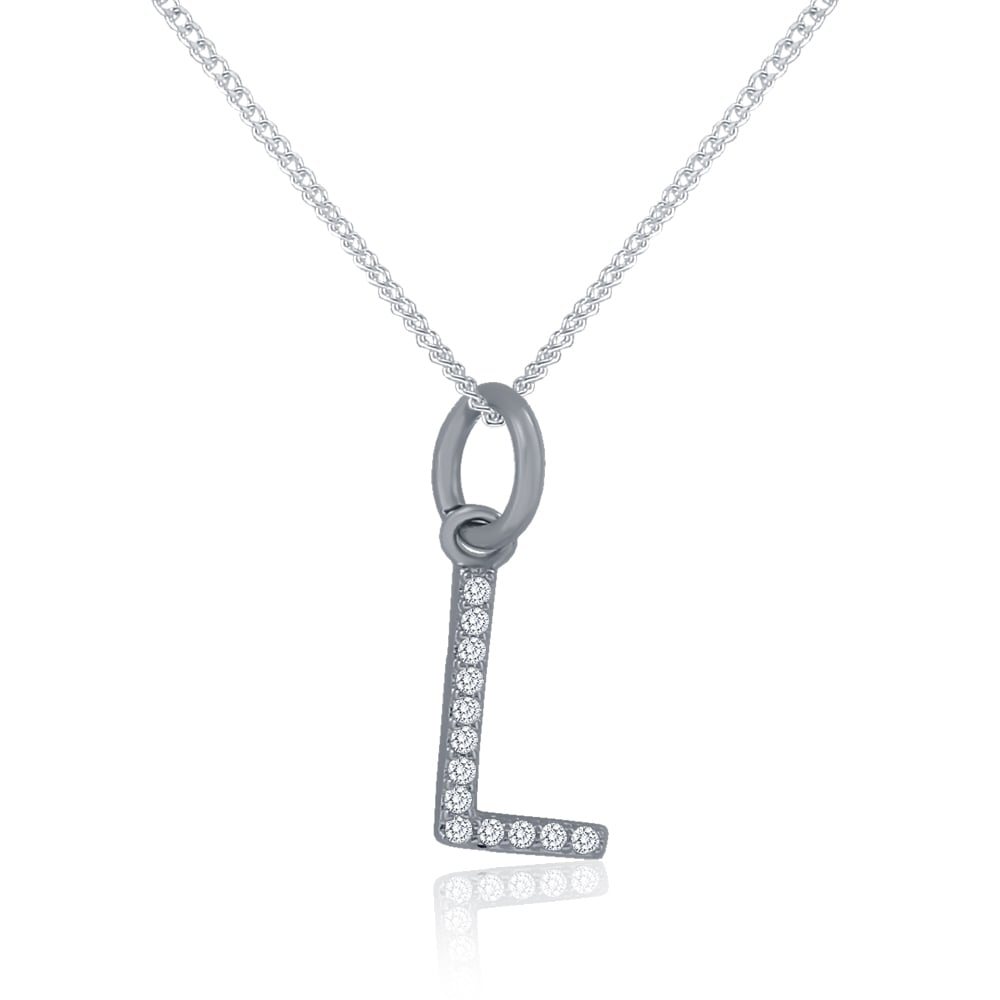 Sterling silver cubic zirconia initial l pendant and chain all sterling silver cubic zirconia initial l pendant and chain aloadofball Image collections