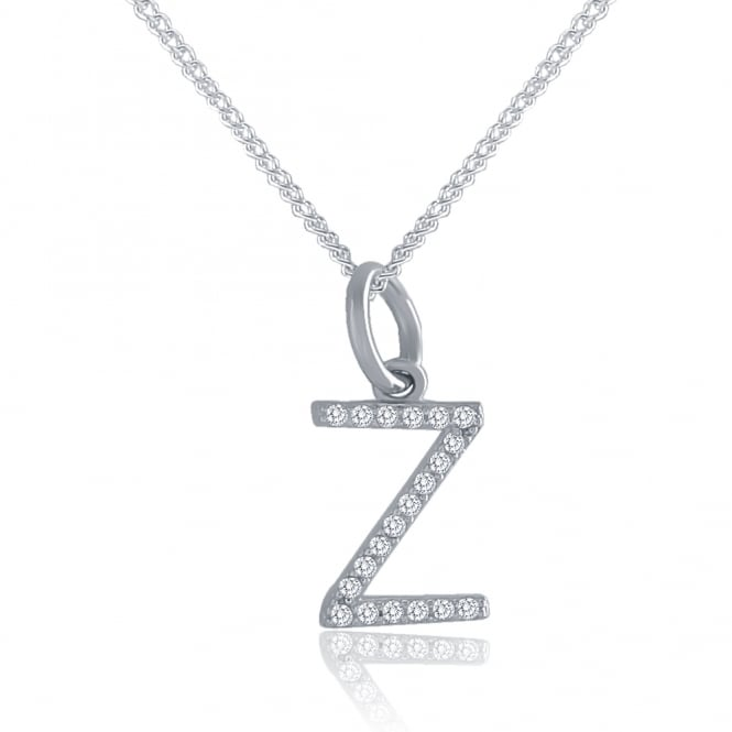 Sterling Silver Cubic Zirconia Initial Pendant And Chain